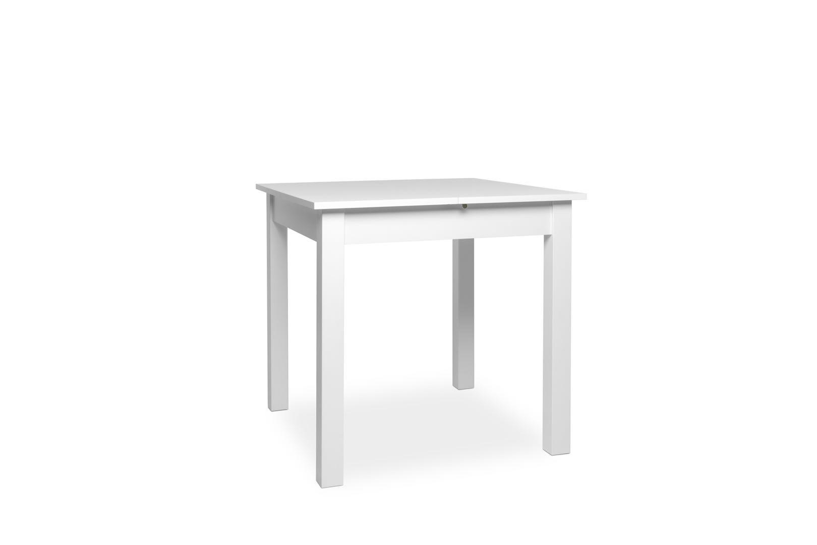 table carr e avec allonge 80 120 cm jiminy blanc. Black Bedroom Furniture Sets. Home Design Ideas