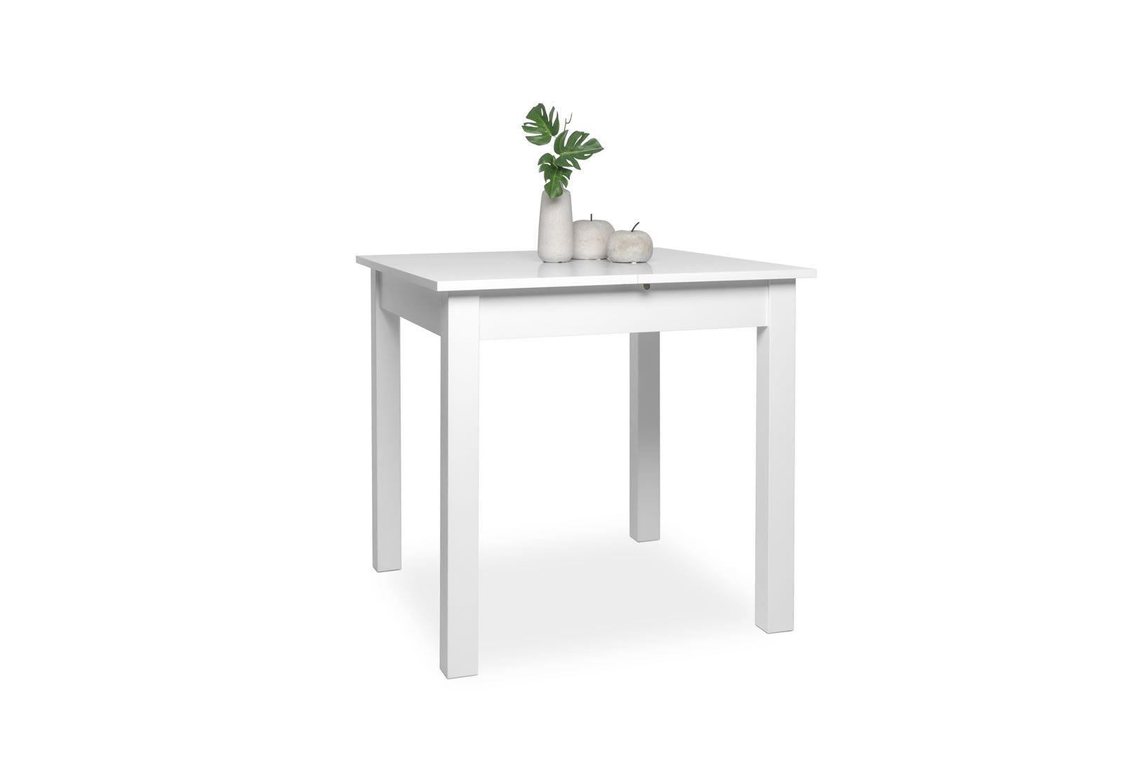 Table carr e avec allonge 80 120 cm jiminy blanc - Table allonge bebe ...