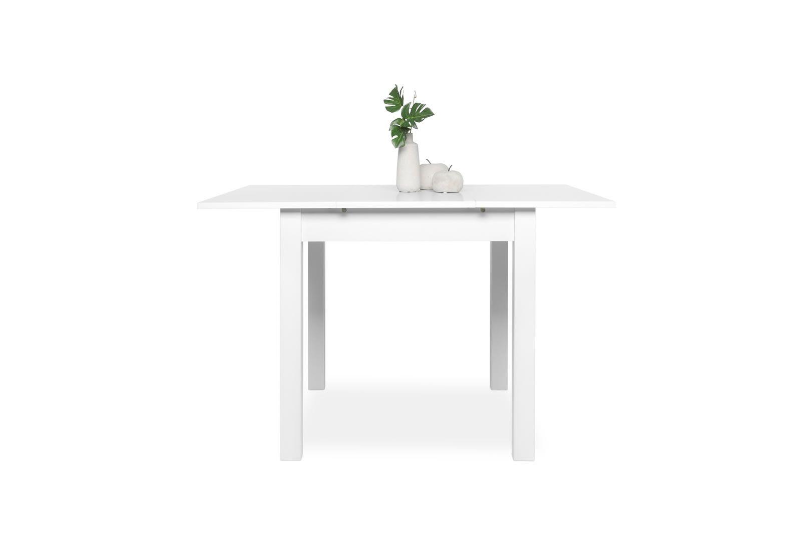 Table carr e avec allonge 80 120 cm jiminy blanc - Table carree 120 avec rallonges ...