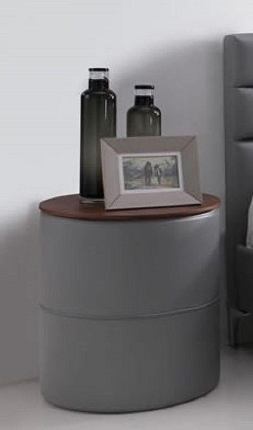 chevets design - chevet contemporain rond pu gris lewinston - trocity