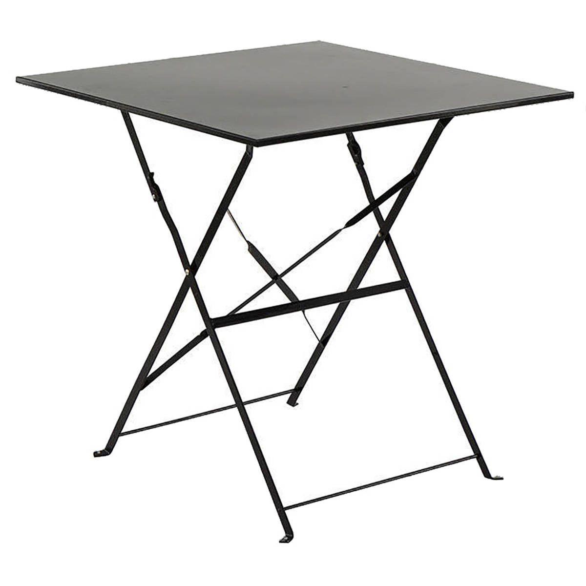 Table de jardin pliante Camargue noire carrée