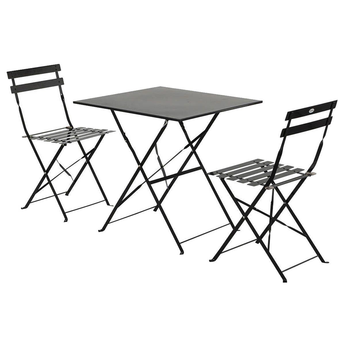 Table carré - Table de jardin pliante Camargue noire carrée - Trocity