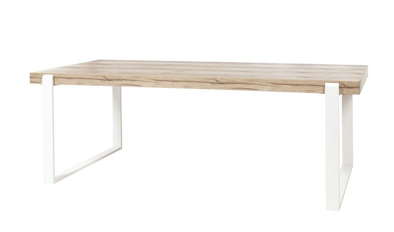 Made In Belgium Table De Salle A Manger 160 Cm Bois Naturel Et Pieds En Metal Blanc Vorane