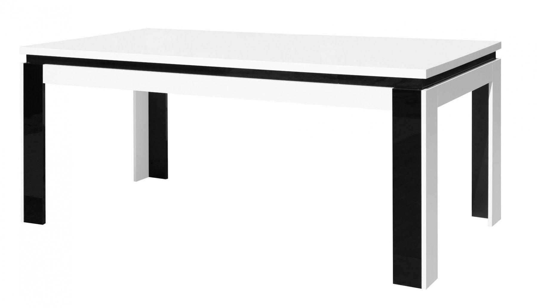 Made in Europe Table de salle à manger 180 cm Aurora Blanc et Noir laqué