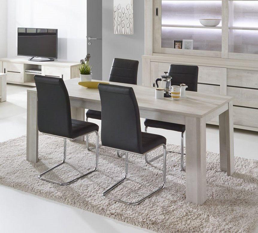salle manger table de salle manger ch ne blanchi drancy 185 cm trocity. Black Bedroom Furniture Sets. Home Design Ideas