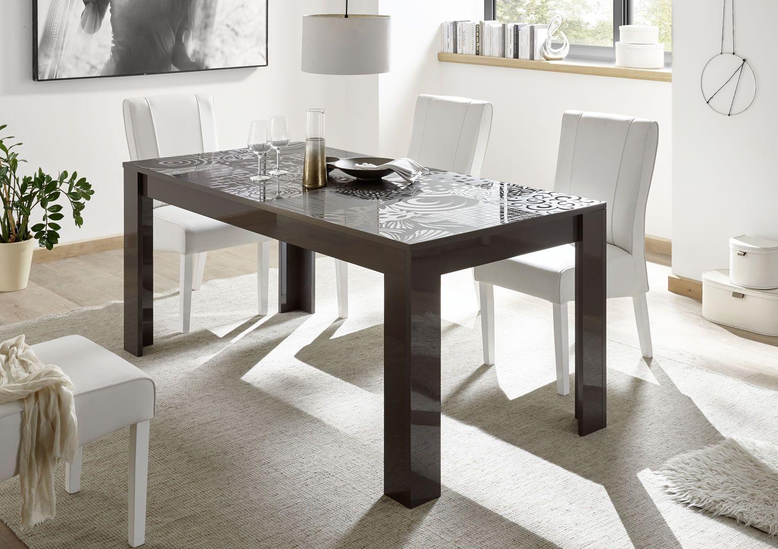 Made in Italy Table de salle à manger design avec sérigraphies gris foncé  laqué brillant Venise 180 cm