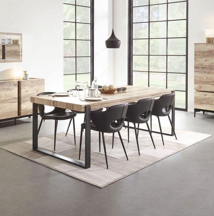 Made in Belgium Table de salle à manger design industriel 180 pieds métal  Barosse