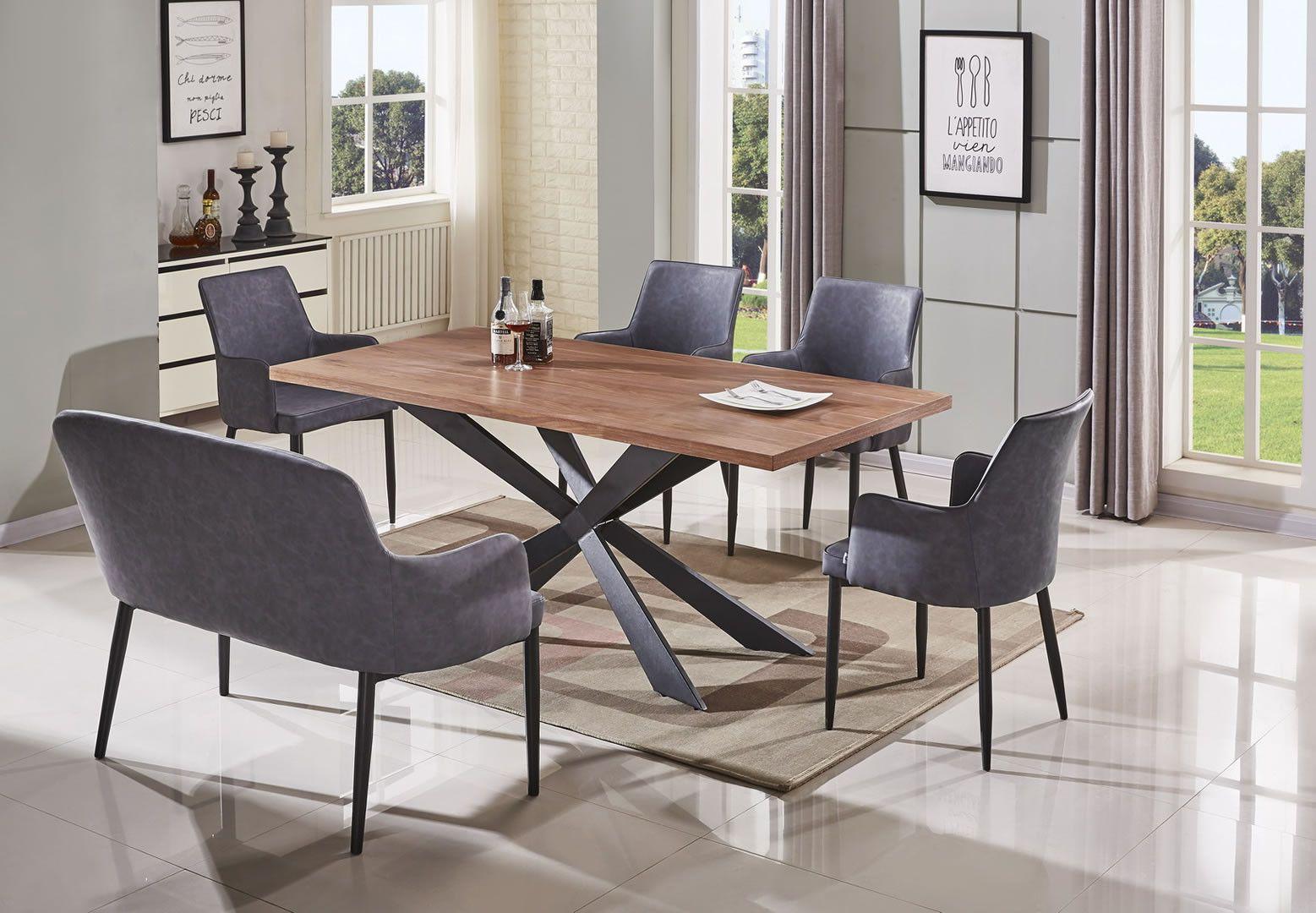 Salle manger table de salle manger style industriel loft 180 cm trocity - Table salle a manger style industriel ...
