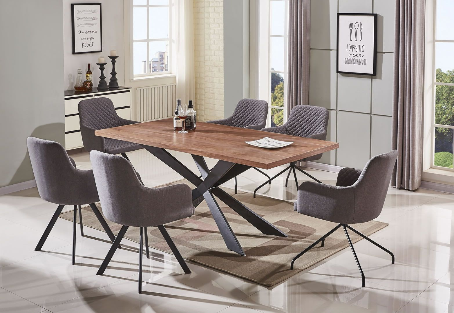 salle manger table de salle manger style industriel loft 200 cm trocity. Black Bedroom Furniture Sets. Home Design Ideas
