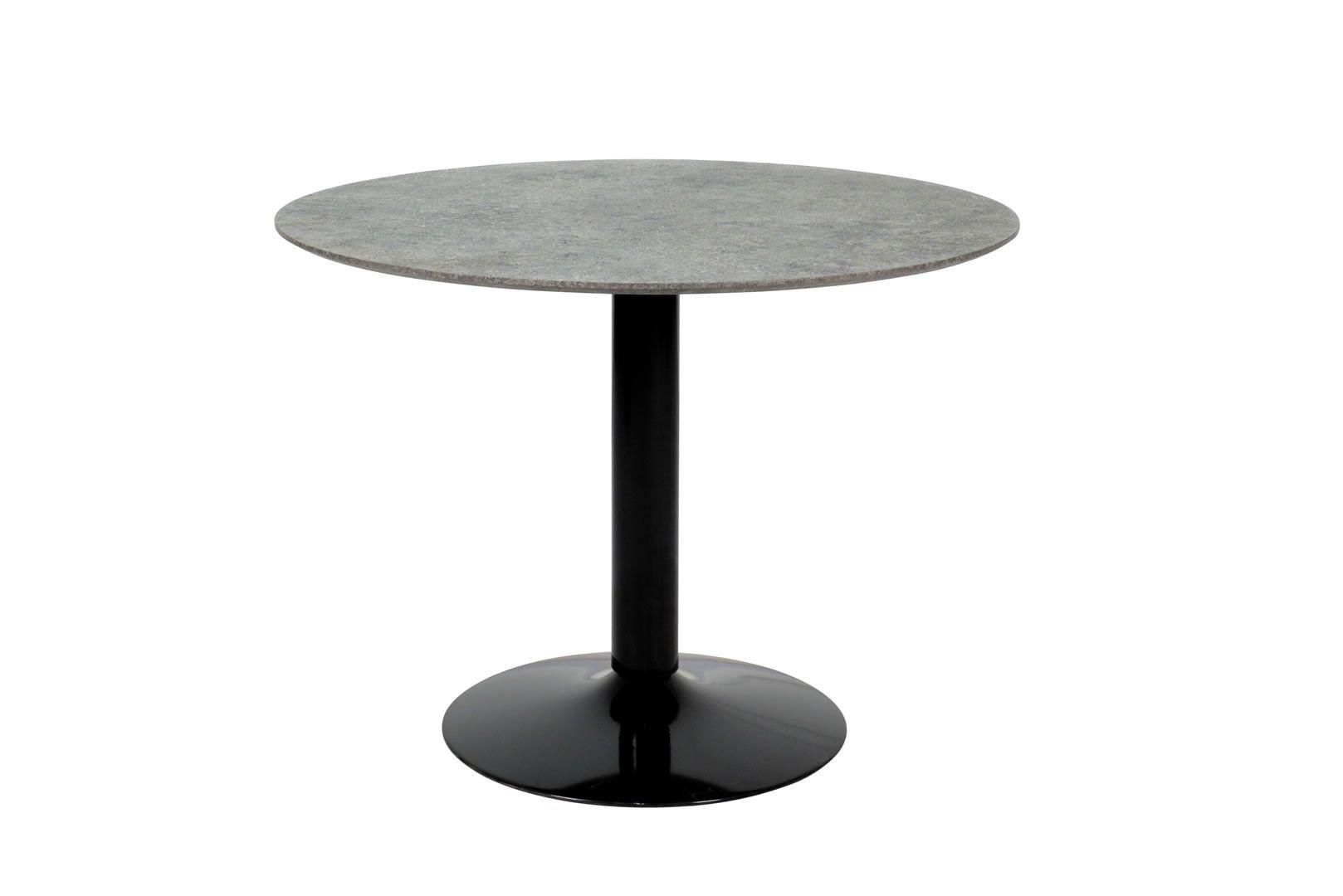 Tables De Cuisine   Table Ronde Style Industriel Effet Béton Et Acier Noir  Sajo   Trocity
