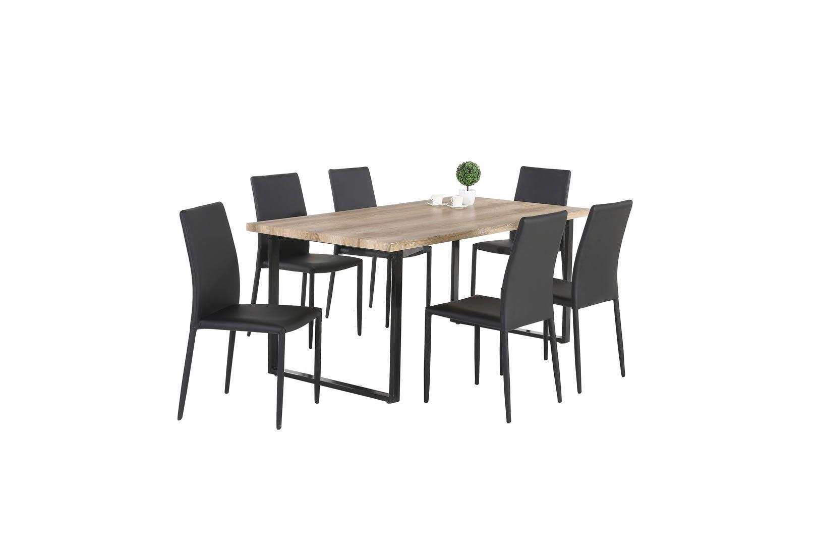 tables de cuisine table style industriel pied en acier noir diva 180 cm trocity. Black Bedroom Furniture Sets. Home Design Ideas