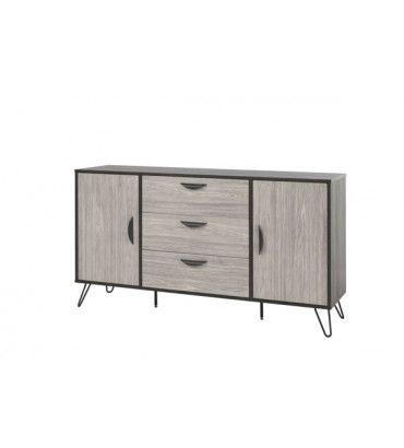 bahut style industriel cendres et ch ne gris viseo 150 cm. Black Bedroom Furniture Sets. Home Design Ideas