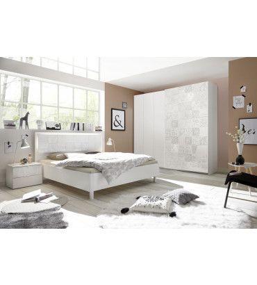 Chambre Adultes Complète Design Avec Sérigraphies Blanc Parme