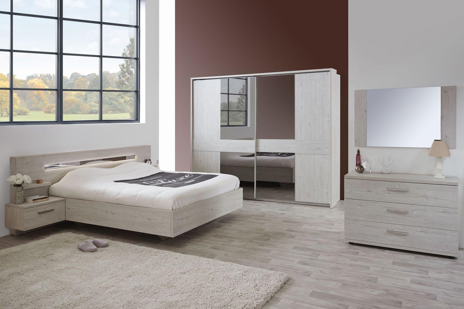 Pont De Lit 140 chambre complète adulte lit 140 led chêne gris clair jojo