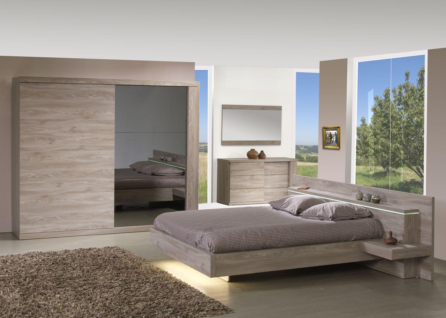 Chambre A Coucher Adulte chambre à coucher adulte lit avec éclairage et armoire 220 cm songa