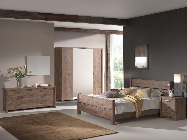 Chambre A Coucher Adulte chambre à coucher complète adulte portes battantes et miroris haly coloris  bois 180 cm