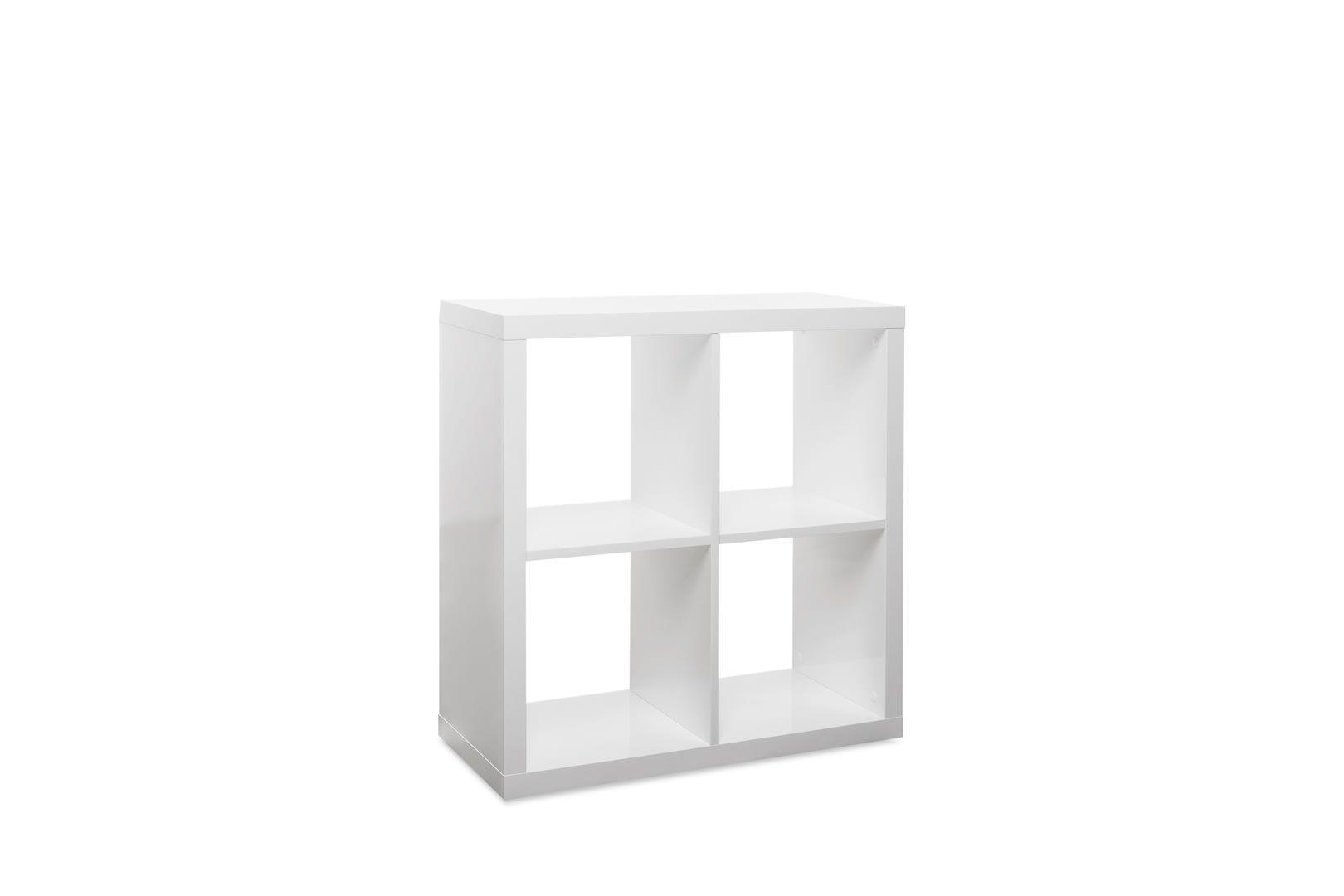 Etagere Murale Cube 4 Cases Blanc Brillant Lana