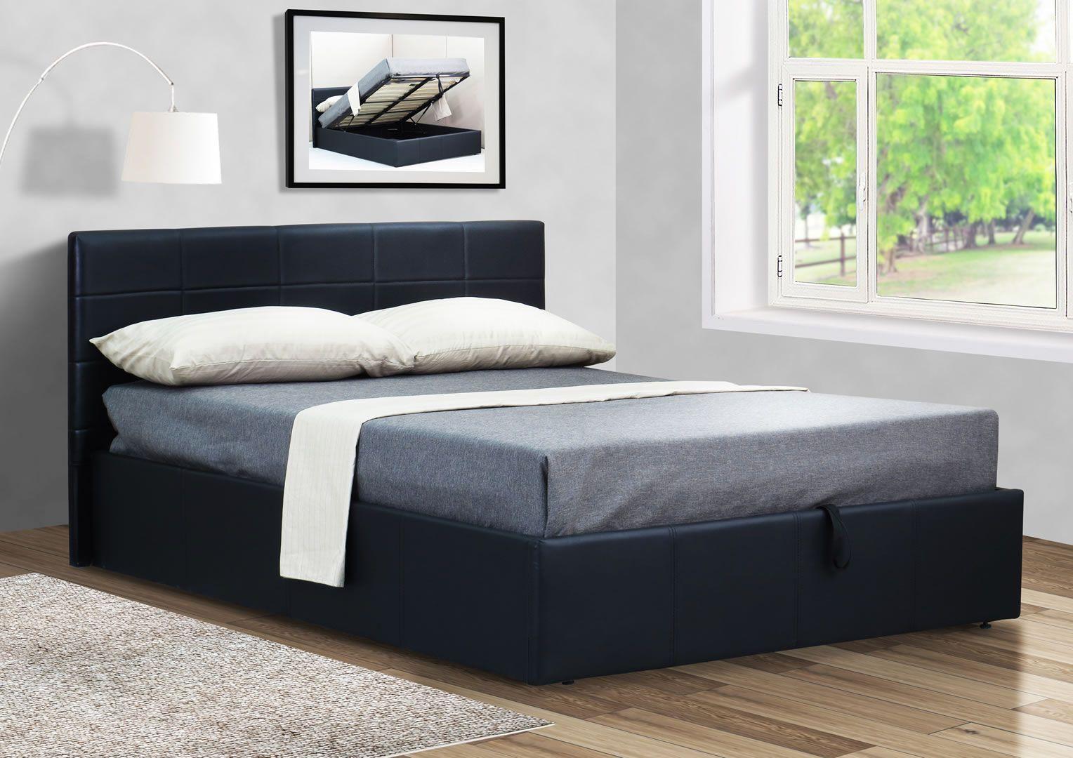 Lit Avec Rangement En Dessous lit double 160 cm avec sommier et coffre de rangement coco noir mat