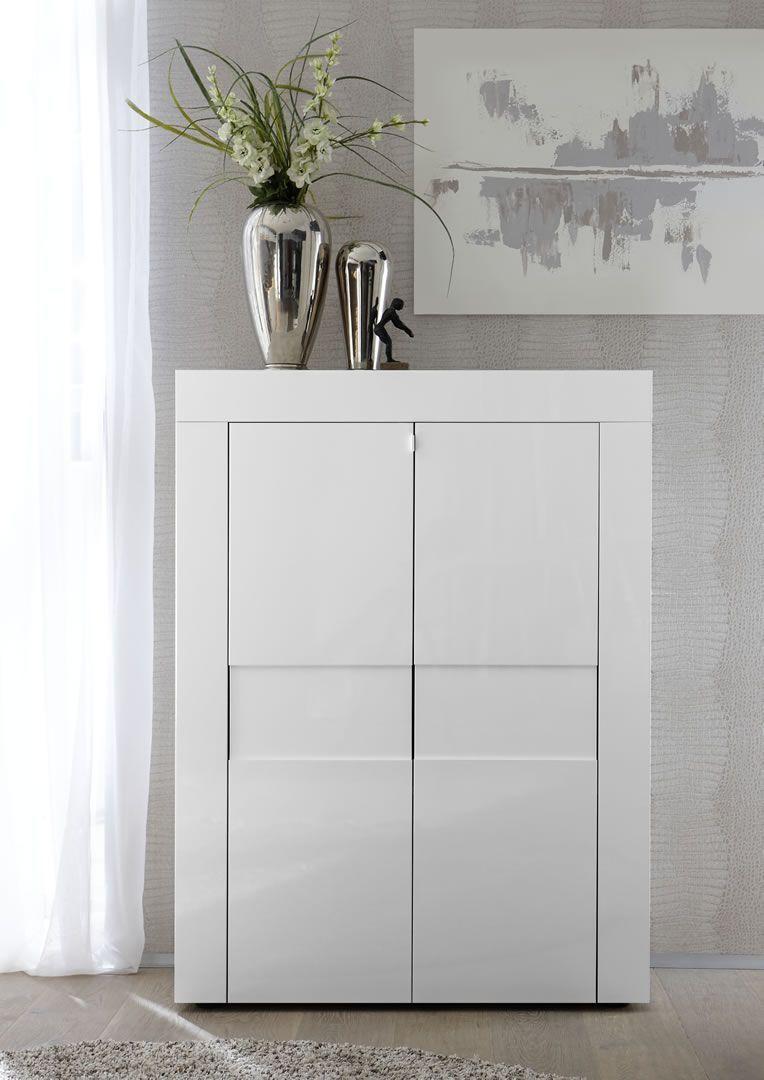 Meuble Blanc Laqué Brillant meuble de rangement 2 portes blanc laqué brillant turin