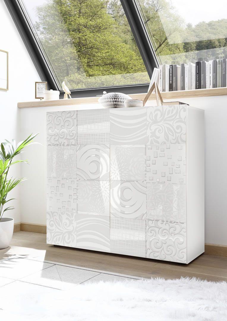 Meuble Blanc Laqué Brillant meuble de rangement design avec sérigraphies 2 portes blanc laqué brillant  venise