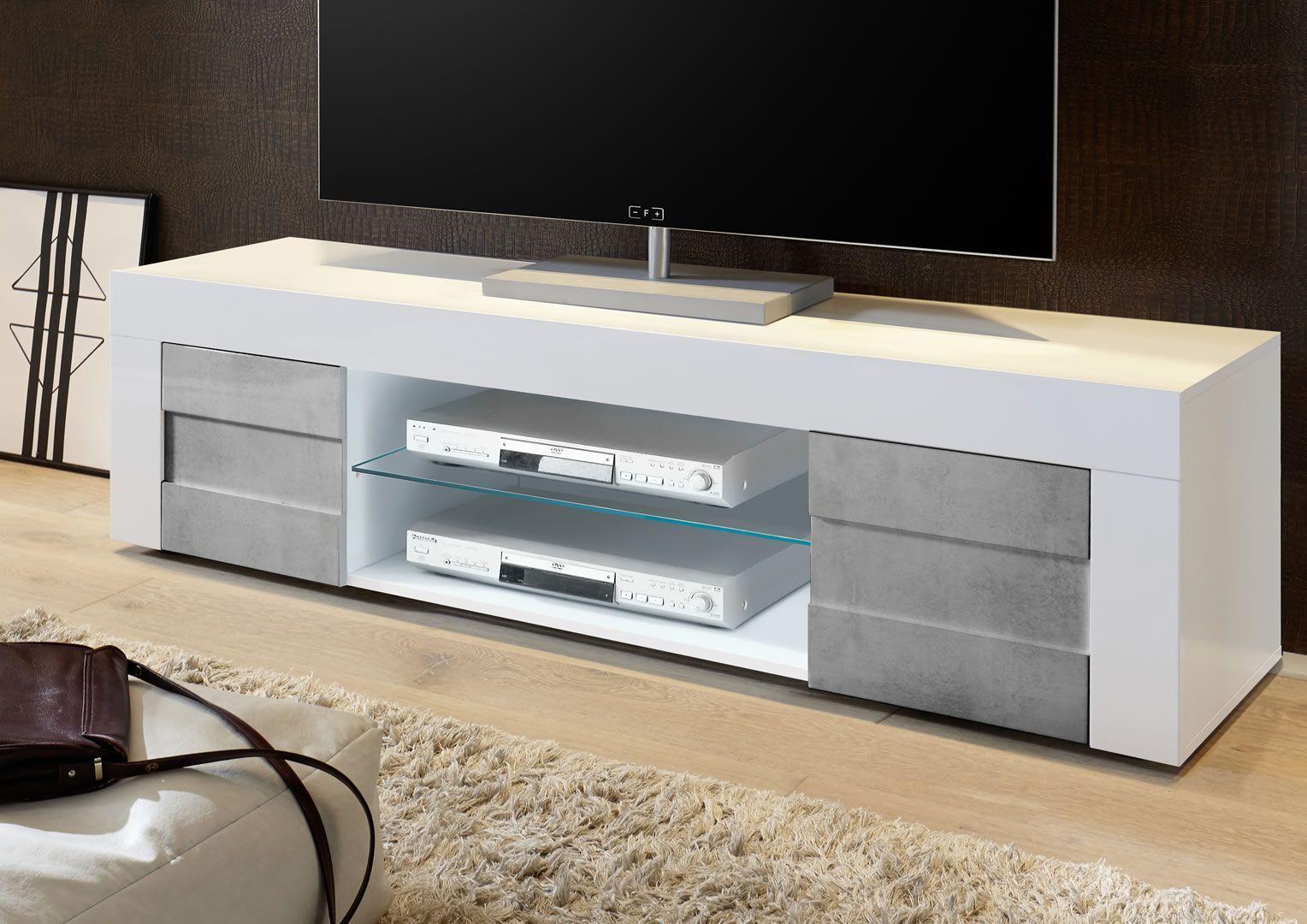 Meuble Blanc Laqué Brillant meuble tv bas 181 cm 2 portes blanc laqué brillant et béton turin