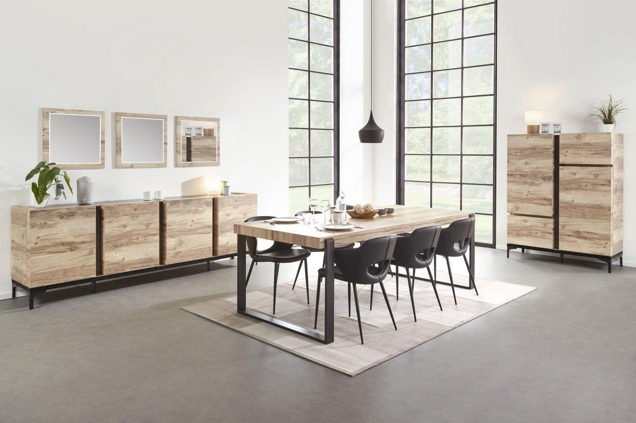 Table À Manger Industrielle salle à manger complète industriel buffet 220 cm bois et métal barosse