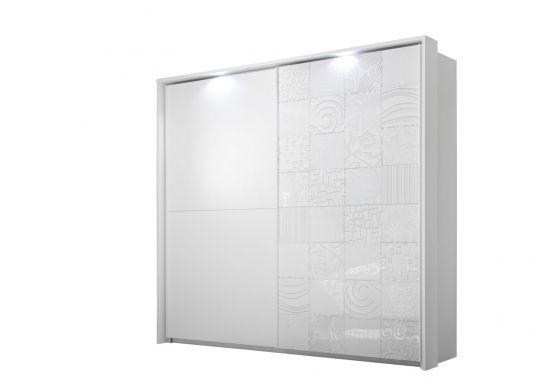 Armoire penderie design 2 portes coulissantes dont 1 sérigraphiée spots  blanc Parme 243 cm