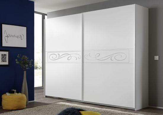 Armoire penderie à portes coulissantes avec sérigraphies blanc Martine