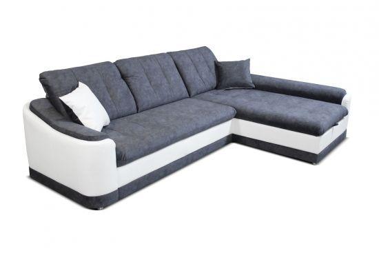 Canapé Convertible Lit Coffre D Angle Droit Tissu Microfibres Et Pu Bray Gris Et Blanc