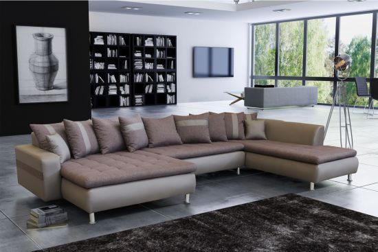taille 40 202f0 0db56 Canapé panoramique méridienne xxl marron et taupe angle gauche Ouragan