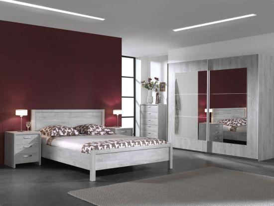 Chambre à coucher complète adulte armoire portes coulissantes avec miroirs  Joe 160 x 200 cm