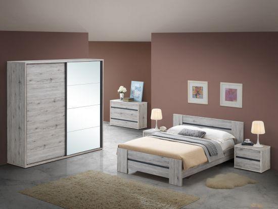 Chambre à coucher complète adultes contemporaine portes coulissantes Emilie