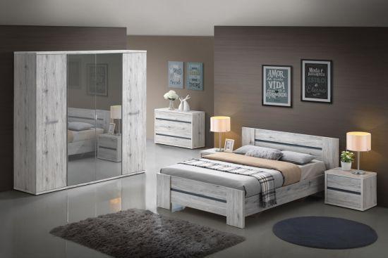 Chambre à coucher adulte complète chêne grisé Dreams lit double de 140 cm