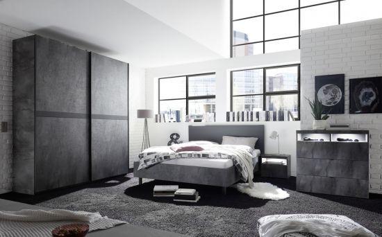 Chambre à coucher adulte contemporaine lit 180 cm gris oxydé Lory