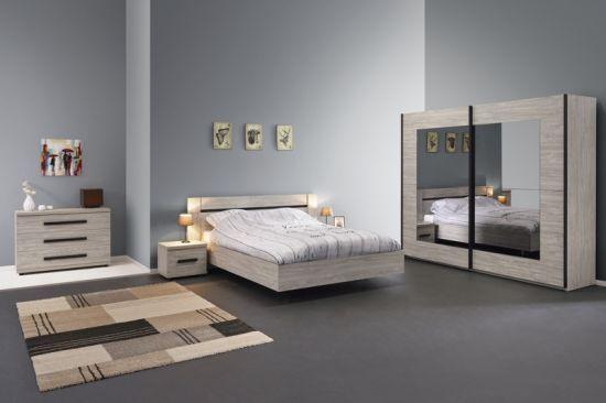 Chambre à coucher compléte adulte portes coullissantes miroirs Magot lit  140 cm
