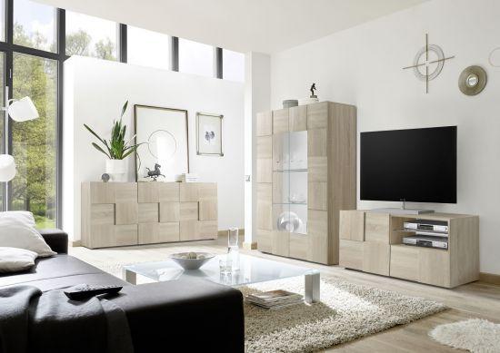 Composition Au Sol Tv Design 3d Avec Eclairage Meuble Tv 1 Porte Chene Samoa Mada