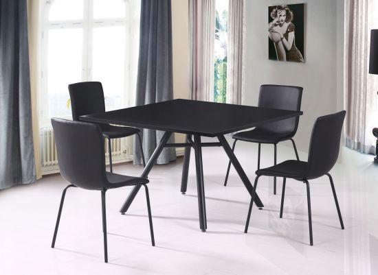 Ensemble Table De Salle à Manger Carrée Avec Pieds Scandinave Et 4 Chaises Eagle Noir