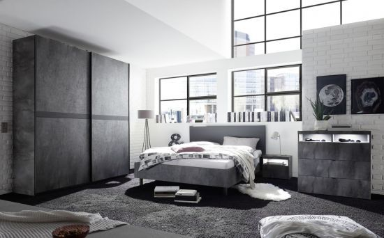 Chambre à coucher adulte contemporaine lit 160 cm gris oxydé Lory