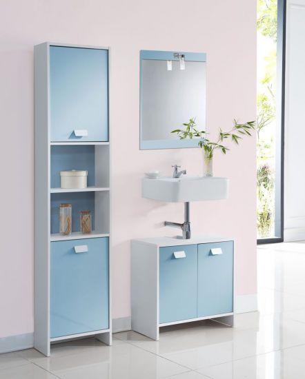 Meuble sous évier de salle de bain blanc et bleu Virgo