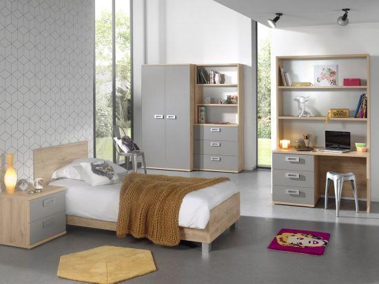 Chambre enfant complète 7 pièces chêne et gris ANDREA