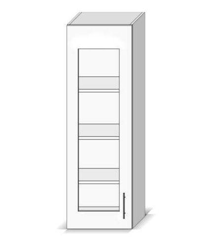 Meuble haut colonne de cuisine 1 porte vitrée gris Dieppe