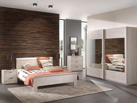 Chambre adulte contemporaine 140cm armoire 250cm chêne clair Morgan