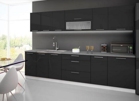 Meuble haut de cuisine 2 portes battantes dont 1 vitrée noir 80 cm Dole
