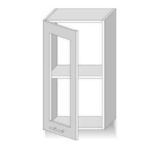 Meuble haut de cuisine 1 portes vitré 40 cm truffe Dax