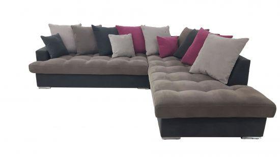 Canapé d\'angle droite Linda gris et fushia