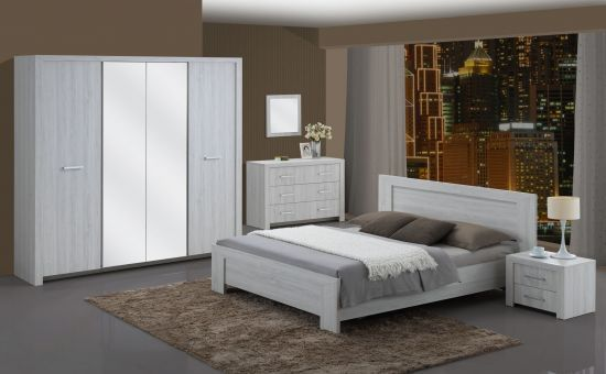 Chambre à coucher adulte contemporaine lit double 140 cm gris clair Nevada