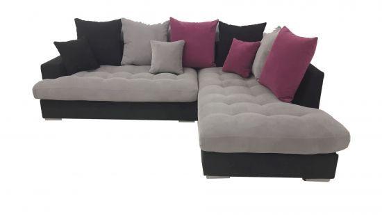 Canapé d\'angle droit Minda gris et fushia
