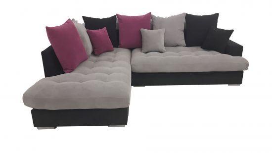 Canapé d\'angle gauche Minda gris et fushia