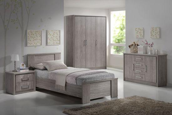 Chambre moderne complète pour enfant avec commode chêne gris Arizona