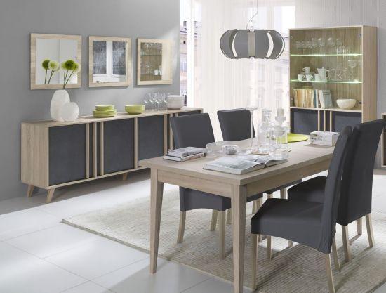 Salle à manger complète Lisieux style scandinave chêne sonoma / béton 160  cm.